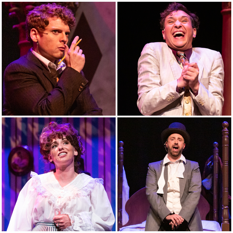 Clockwise from top left: Scott Hurst and Cole Emarine in 'The Moustrap'; Phil Forman and Sarah Griver in 'I Do! I Do!' RDG Photography