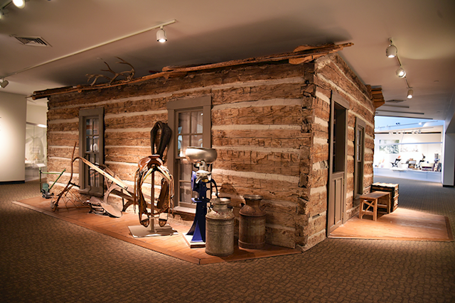 The history museum, a wooden cabin inside our downstairs gallery